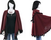 Vintage Shawl Burgundy Wine Oxblood Wrap Sweater Faux Fur Trim Wrap Coat