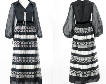 Vintage 1970s Sundress Festival Black Bubble Sleeve Lace Wedding Party Dress