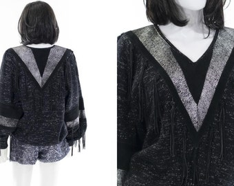 Leather Sweater Avant Garde Black Sparkle Southwestern Sweater with Fringe Tassels Size L