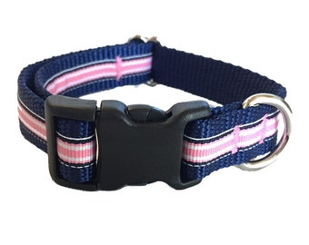 Preppy Pink and Navy Stripe Dog Collar