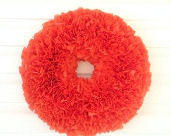 Outdoor Wreath, Rag Wreath, Outdoor Halloween Decoration, Holiday Wreath, Halloween Wreath, Orange Wreath, Halloween Door Decor, Fall Wreath