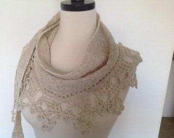 Crochet baktus shawl/scarf, alpaca , beige, light ecru, new, superp, lacy, made by Demet