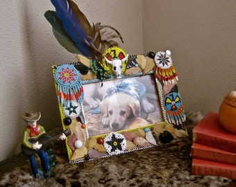 Native American FRAME with ARROWHEADS Southwestern Photo Decor Vintage Assemblage Repurposed Beadwork Feathers Steer Head Multicolored OOAK