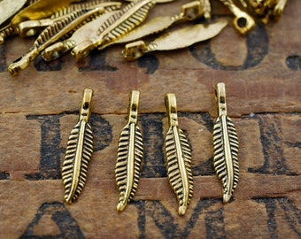 Small Pewter Feather Charm Gold Feather Charm Drop (100) Bulk Charms P115