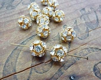 Gold Rhinestone Ball Beads Gold Ball Beads Vintage (2) H526 12mm