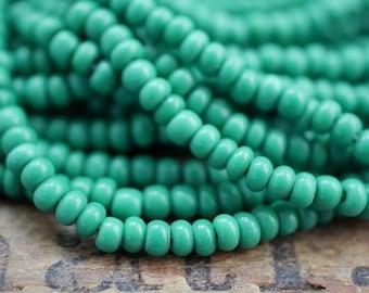 Vintage Seed Bead Size 7 Dark Green 3.4mm SB1169
