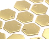 30 Raw Brass Hexagon Stamping Blank Tag Charms  (12.5x0.80mm)    B0100