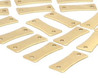 Raw Brass Blank, 30 Raw Brass Stamping Blank Connectors With 2 Holes (18x7.5x0.60mm) A0789