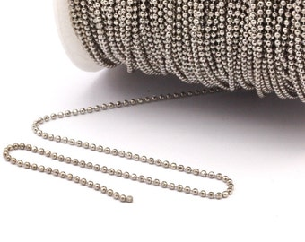 5 Meters 16.5 Feet 1.5 Mm Silver Tone Brass Faceted Ball Chain - W71