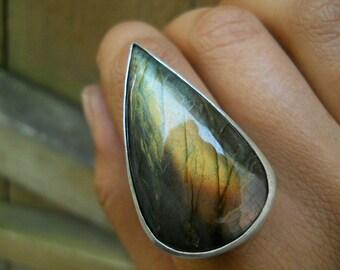 labradorite teardrop statement ring, sterling silver, autumn flash, labradorite ring, size 9, ready to ship