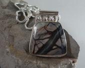 Jasper artisan silver pendant snake chain OOAK