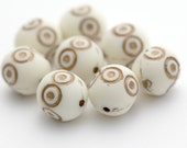 Vintage Lucite Gold Ivory Ornate Etched Oval Beads Matte 16mm (8)