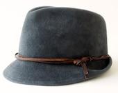 Fedora Trilby Hat- Fall Fashion- Grey Fedora- Winter Accessories- Winter Hat- Men's Hat- Dress Hat- Narrow Brim Fedora Hat- Stingy Brim
