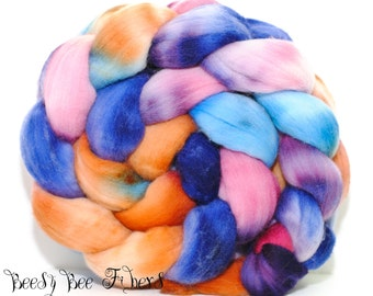 POTION - Hand Dyed Domestic Rambouillet  Wool Roving, Combed Top Spinning, Felting Wool Fiber - 4 oz