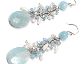 faceted aquamarine freshwater pearl Swarovski long dangle earrings