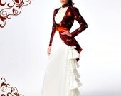 Miss Ginerva's Wedding ~ Victorian Steampunk 3-piece ensemble in satin & lace ~ peplum jacket - blouse and tiered skirt