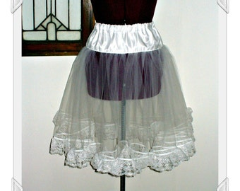 Miss Daphne's Level 1 Mini Lace Petticoat ~ Small fullness tulle tutu with soft shape and thick lace trim