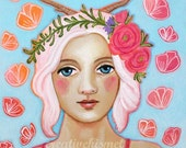Girl with Antlers - Art Print - Art by Regina Lord