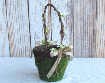 Small Moss Flower Girl Basket for your Wedding