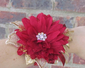 Red Flower & Gold Accented Wrist Corsage with Red Sequins Wrist Band, Ready to Ship....Sale Priced!