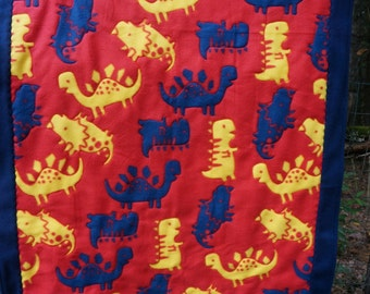Dinosaur Fleece Quilted Blanket and Pillow Set