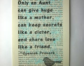 Aunt quote Spanish Proverb print on a book page, aunt saying, aunt gift