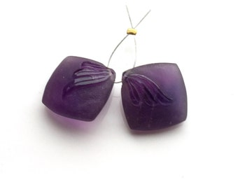 Carved Matte Purple Amethyst Coin Pair