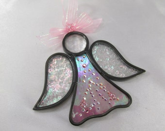 Pink Irridized Angel Stained Glass Ornament or Suncatcher