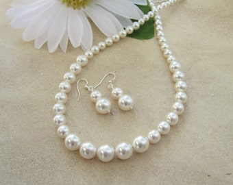 Graduated Pearl Necklace Set, Bridal Jewelry, Bridesmaids Jewelry, Wedding Jewelry, Mother of the Bride, Gift for Bridesmaids, Octavia