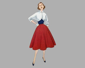 1951 Skirt and Bolero pattern, Simplicity 3773, Size 12, Bust 30. Complete/Cut, Rounded front, kimono sleeve, 8 Section flared skirt