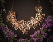 Copper Orchid Necklace  - Language of Flowers -  Hand drawn and Etched copper - One of a kind - jewelry made in my austin tx