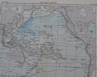 1898 Map Pacific Ocean - Sea Depth - Vintage Antique Map Great for Framing 100 Years Old