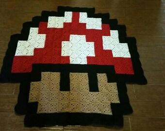 Mario Mushroom Inspired Pixel Throw Blanket or Rug Decor
