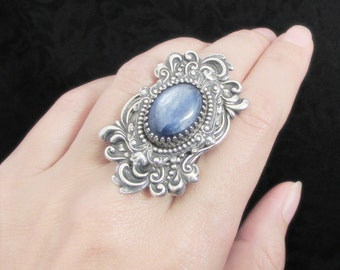 Into the Mist - Blue Kyanite Ring, Victorian Ring, Statement Ring, Steampunk Ring, Bold Rings