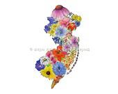 The Garden State NJ map native wildflowers 11x14 art print