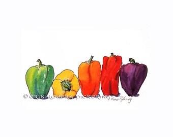 Rainbow Peppers original watercolor illustration 5x7