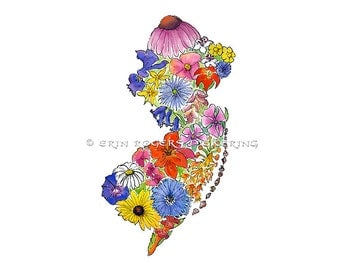 The Garden State NJ map native wildflowers 11x14 art print