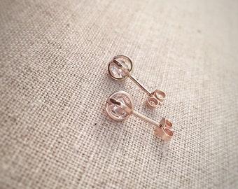 SALE - Herkimer Diamond Earrings - 14k Rose Gold - 6mm