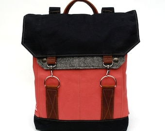 Traveller Waxed Canvas Backpack / Grey Herringbone Recycled Wool, Bubblegum Canvas & Oiled Leather