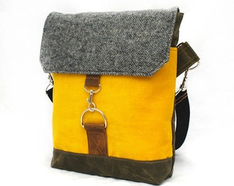 Waxed Canvas Satchel / Recycled Fog Herringbone Wool & Canary Corduroy READY TO SHIP