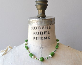 Little World necklace | vintage 1930s necklace | glass bead 30s choker necklace