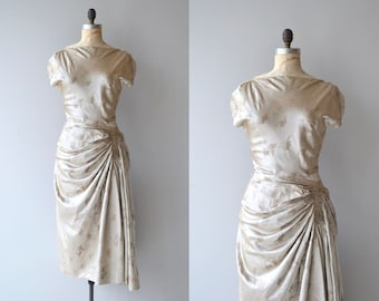 Glissade silk dress | vintage 1950s dress | silk brocade 50s dress