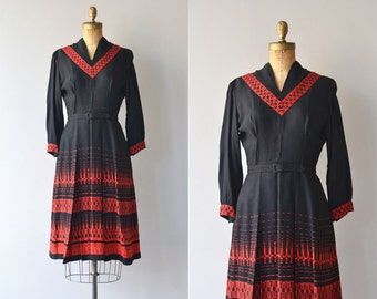 Werkbund dress | woven 1950s dress | wool 50s dress