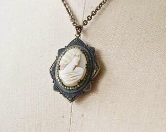 Edwardian Cameo Locket necklace | vintage cameo necklace | antique Edwardian jewelry