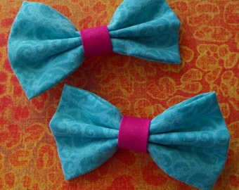 Turquoise and Hot Pink Hair Bow Set Pastel Goth Anime Girls