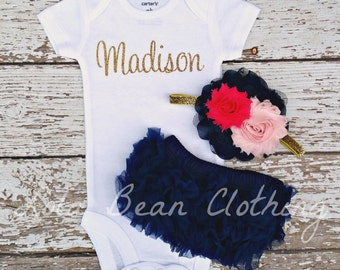 NEW Baby Girl Take Home Outfit Newborn Baby Girl Custom Name Bodysuit Navy Blue Bloomers Light Pink Hot Pink Headband Set lolabeanclothing