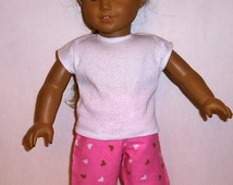 18 inch Doll Pajamas, Flannel Pants, Cotton Shirt,  Cotton Pj's, Pink Hearts, Boon Box, American Made, Girl Doll Clothes