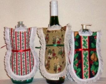Dish Soap Apron, Holiday Christmas, Bottle Gift Wrap,  Wine Bottle, Detergent Cover, Lotion Apron, Eyelet Lace, Kitchen Decor