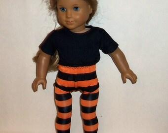18 inch Doll Tights, Orange Black, Striped Legwear, Halloween Costume, American Made, Girl Doll Clothes