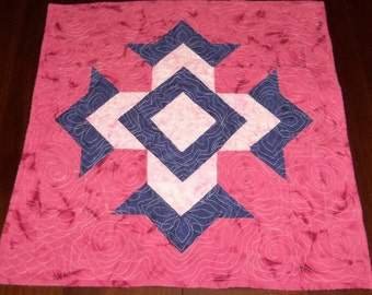 Quilted, Dining Table Decor,  Sale Priced,Wall Hanging, Table Runner, 23 x 23 inches, God's Eye, Machine Quilted, Table Topper